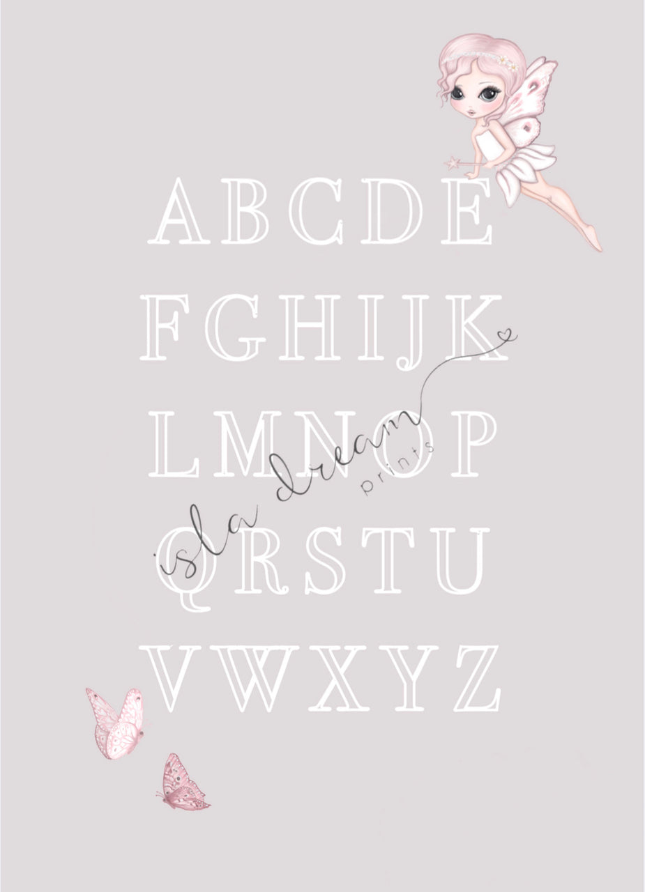 Grace the fairy butterfly, alphabet poster: available pink and grey - Isla Dream Prints