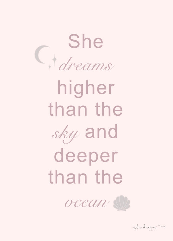 She dreams ocean quote print:  various colours - Isla Dream Prints