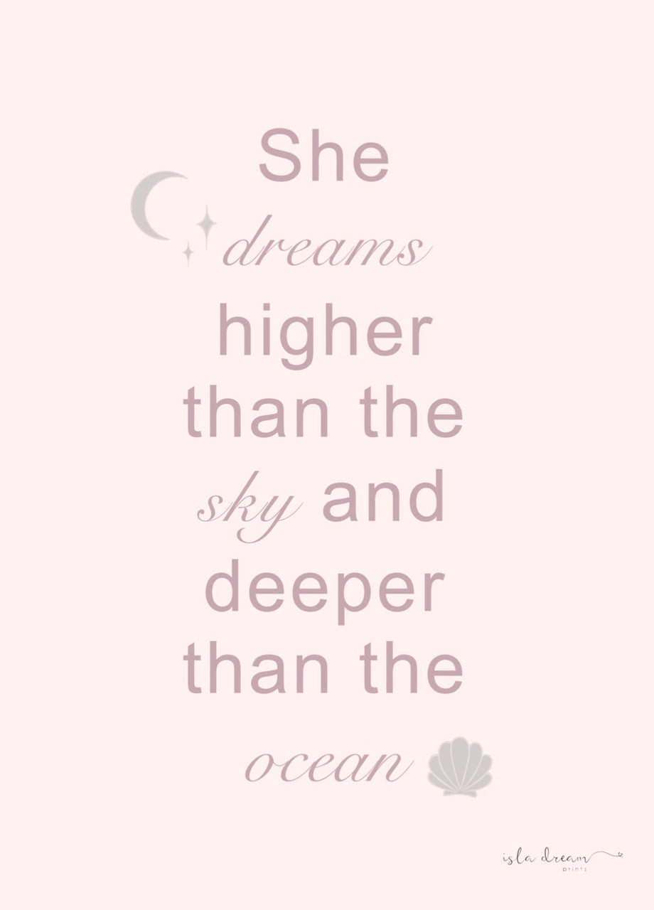 She dreams ocean quote print- various colours - Isla Dream Prints