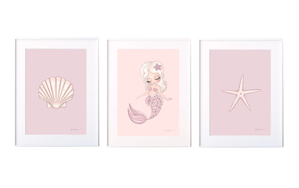 Mermaid shell & starfish sets. Multiple colour options. - Isla Dream Prints