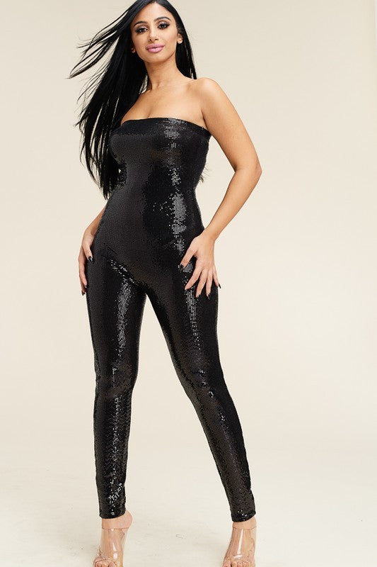 Super Stretch Metallic Strapless Jumpsuit