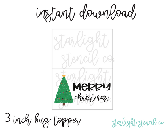 Merry Christmas Tree PDF 3 inch bag topper