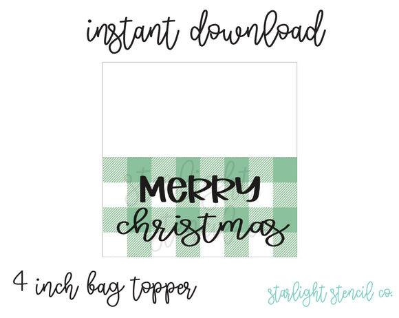 Merry Christmas Green PDF 4 inch bag topper