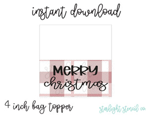 Merry Christmas Red PDF 4 inch bag topper