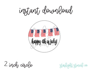 Happy 4th of July Flags PDF tags