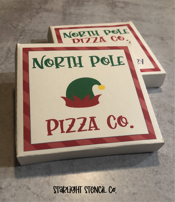 North Pole Pizza Co. PDF Pizza Box Printable | 2 Designs