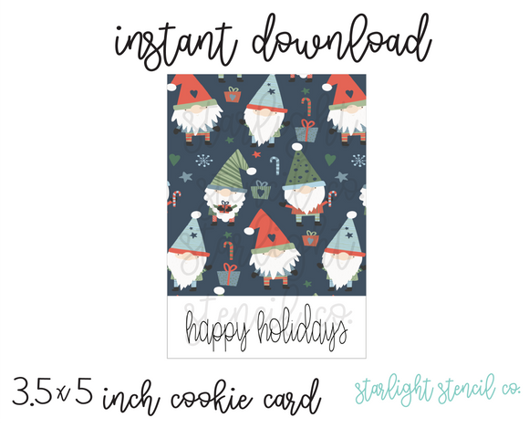 Happy Holidays Gnome Blue PDF cookie card