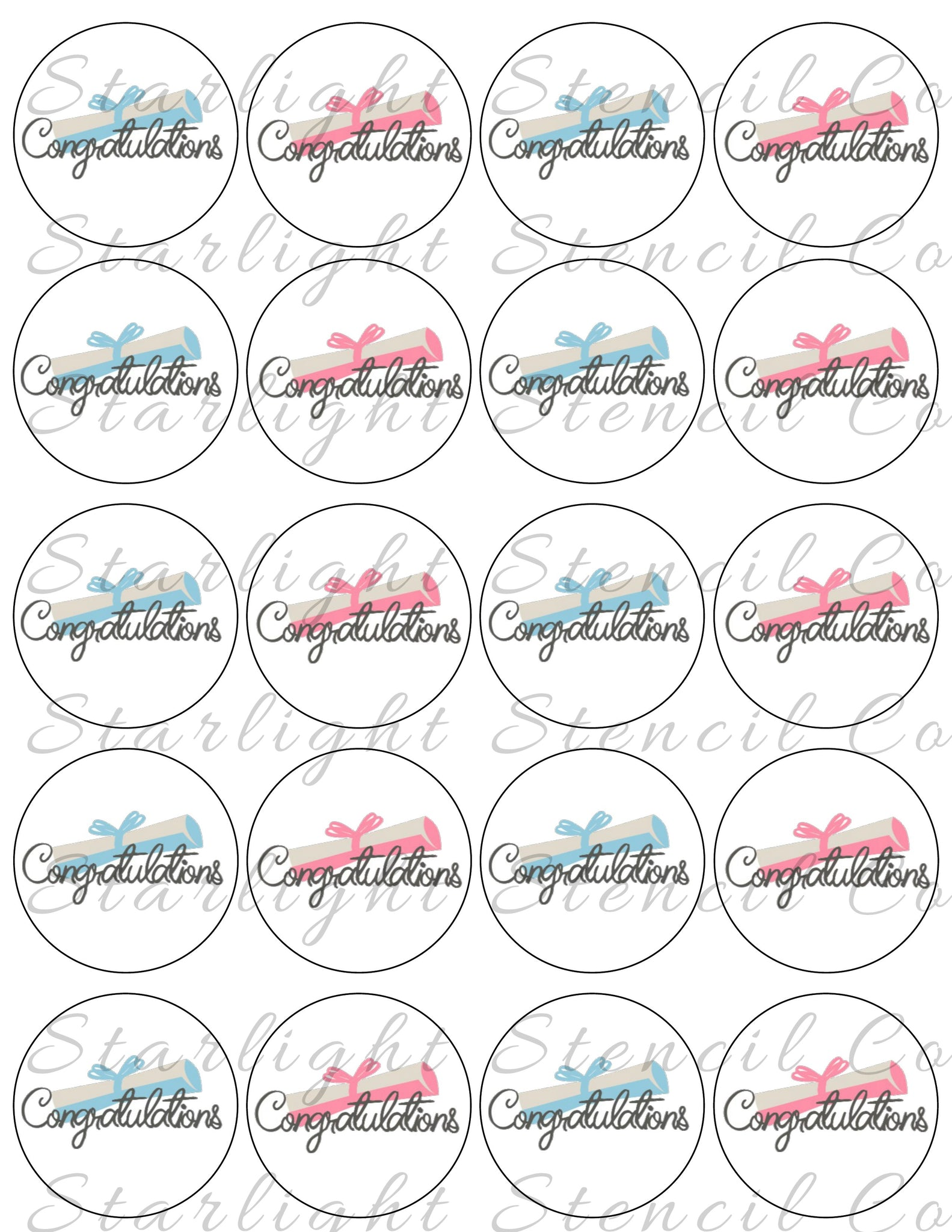 Congratulations Pink & Blue PDF tags