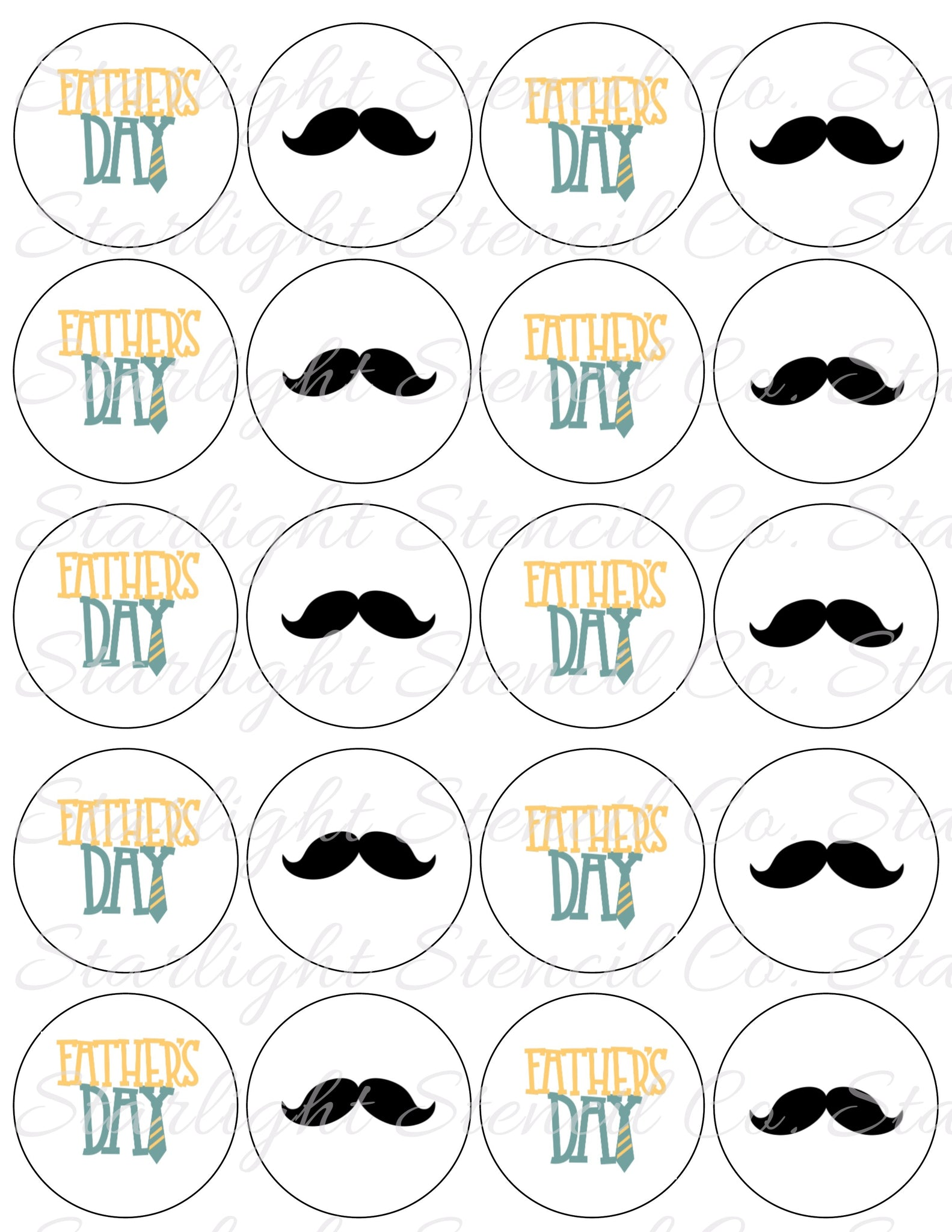 Fathers Day Mustache PDF tags