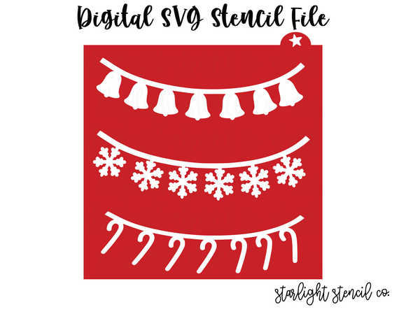 Christmas Garland 2 SVG stencil file