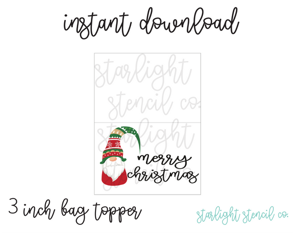 Gnome Merry Christmas PDF 3 inch bag topper