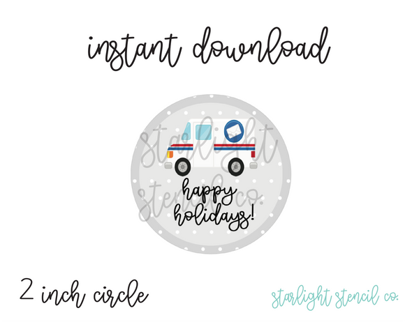 Happy Holidays Mail truck PDF tags
