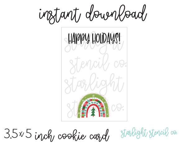 Happy Holidays Rainbow PDF cookie card
