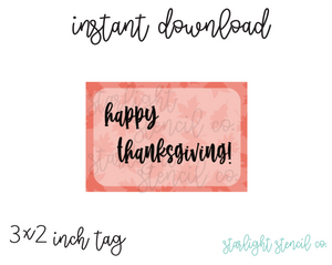 Happy Thanksgiving Fall Leaves 3x2 inches PDF tags