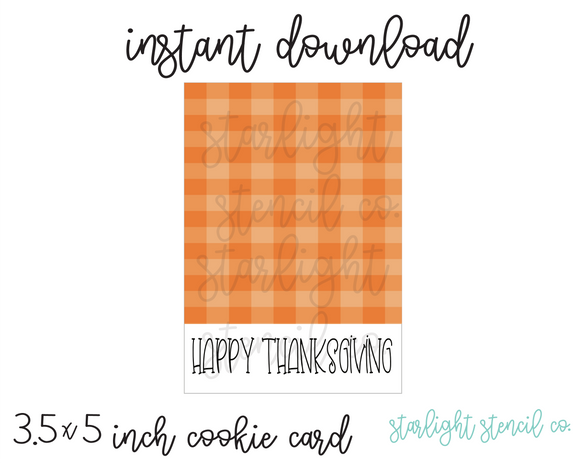 Happy Thanksgiving Orange PDF cookie card