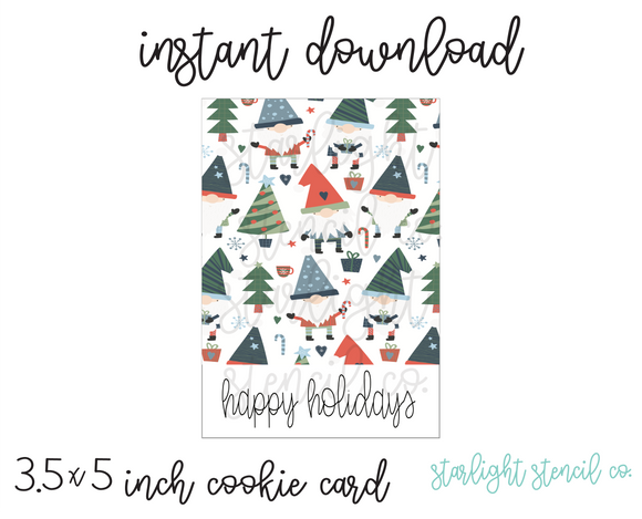 Happy Holidays Gnome White PDF cookie card