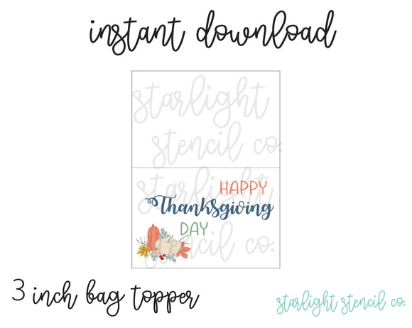 Happy Thanksgiving Day 3 inch Bag topper PDF
