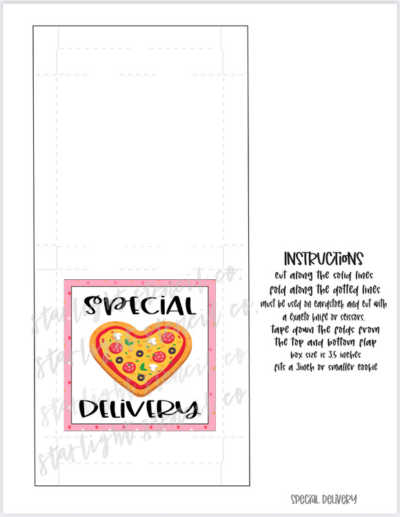 Special Delivery Heart Pizza PDF Pizza Box printable