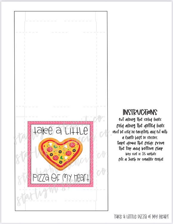 Take a little pizza of my heart PDF Pizza Box printable