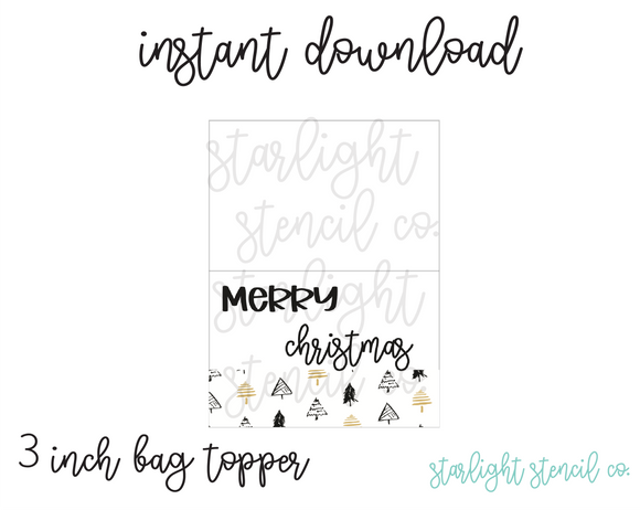 Merry Christmas Gold trees PDF 3 inch bag topper