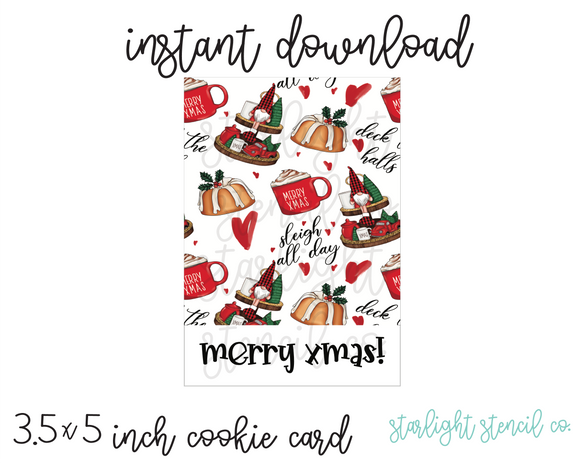 Merry xmas PDF cookie cards