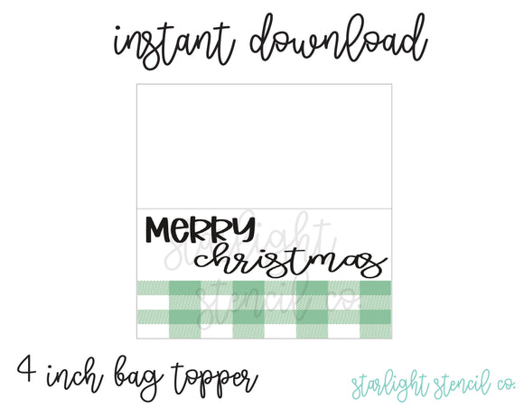 Merry Christmas Plaid Green PDF 4 inch bag topper
