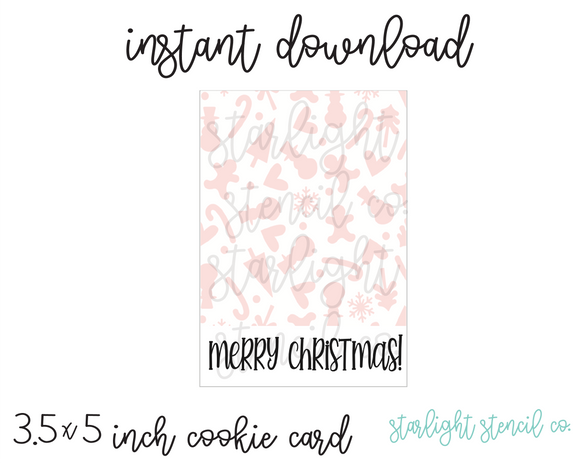 Merry Christmas Pink Background PDF cookie card