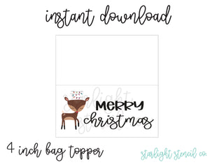 Reindeer Merry Christmas PDF 4 inch bag topper
