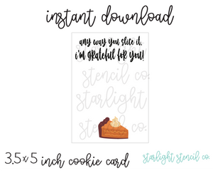 Grateful for You Pie PDF Cookie card