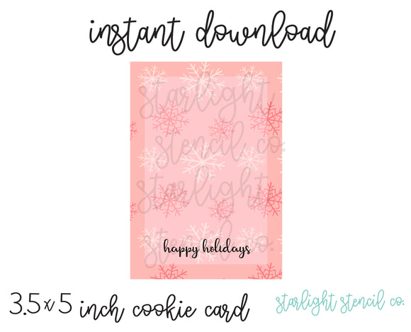 Happy holidays snowflake pink PDF card