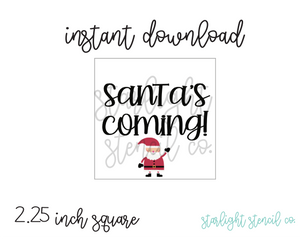 Santa's Coming Square PDF tags