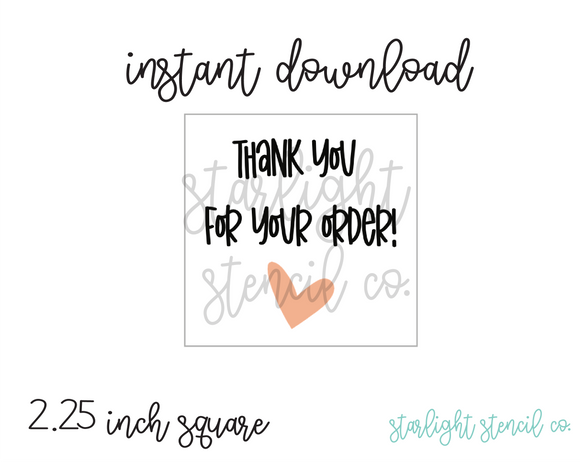 Thank you for your order heart PDF tags