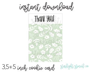 Thank you Green PDF cookie card
