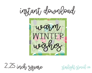 Warm winter wishes square PDF tags
