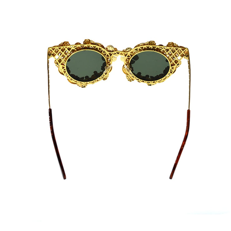 """GOLD FLORAL & CRYSTALS SUNGLASSES"""