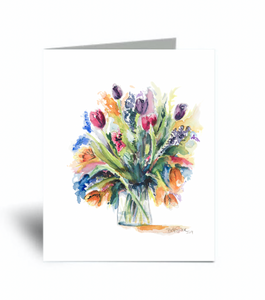 """Bouquet of Tulips""Blank Card 10 Pack"