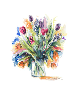"""Bouquet Of Tulips"" Floral Print"