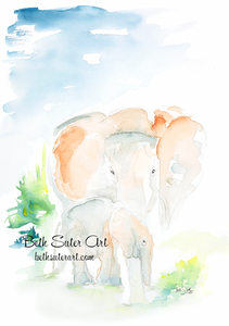 """Mama and Baby Elephant"" PRINT"