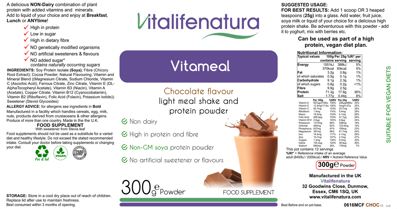 Vitameal Chocolate Flavour 300g Powder