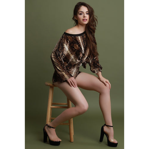 Velvet Reptile Print Crop Sweater and Shorts Set
