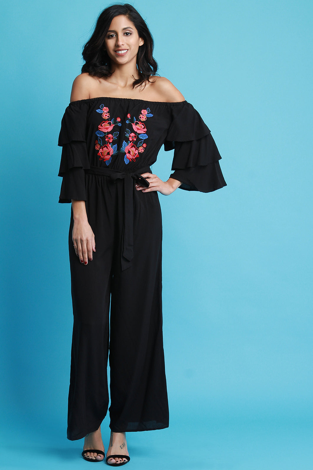 Embroidered Floral Bardot Ruffle Sleeve Jumpsuit