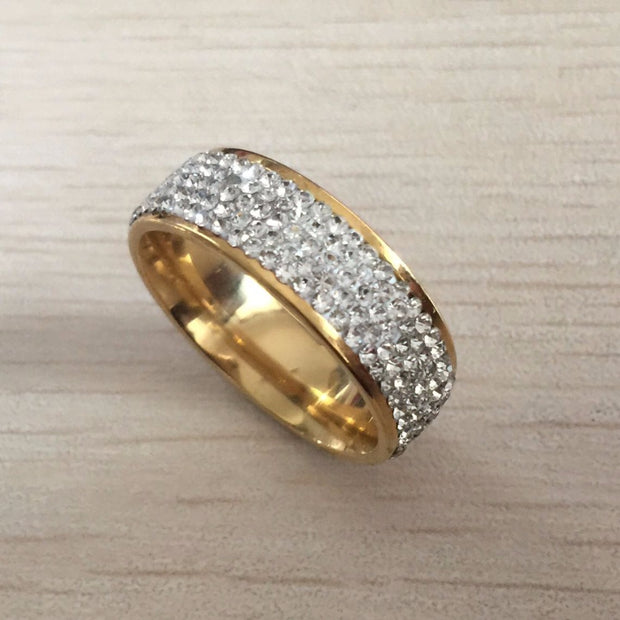 Fine Ring For Lady In Stainless Steel With 18k Gold Plated
