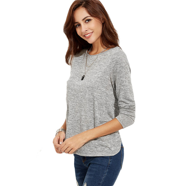 Grey Crossover Back Marled Knit Stretchy T-shirt Women Round Neck Long Sleeve Plain Shirt  Casual Fall Tee