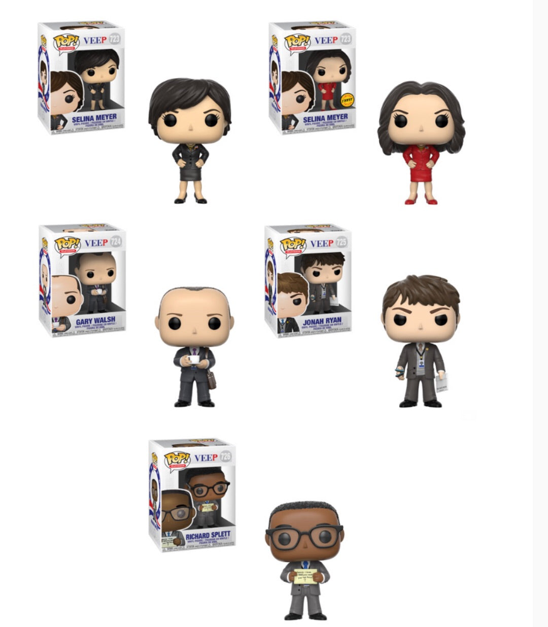 Veep Funko Pop! Complete Set of 5 CHASE Included (Pre-Order)