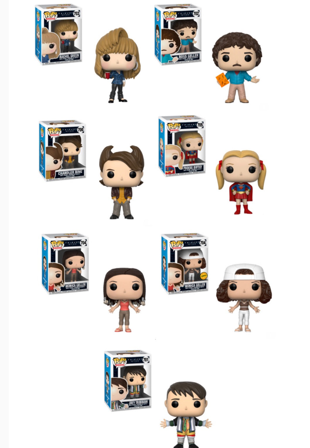 Friends Funko Pop! Complete Set of 7 CHASE Included