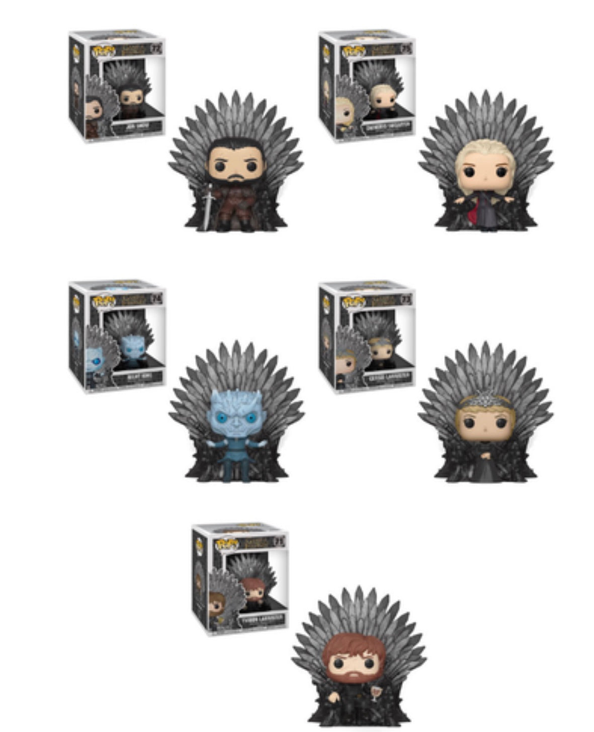 GAME OF THRONES FUNKO POP! COMPLETE SET OF 5 IRON THRONES (PRE-ORDER)