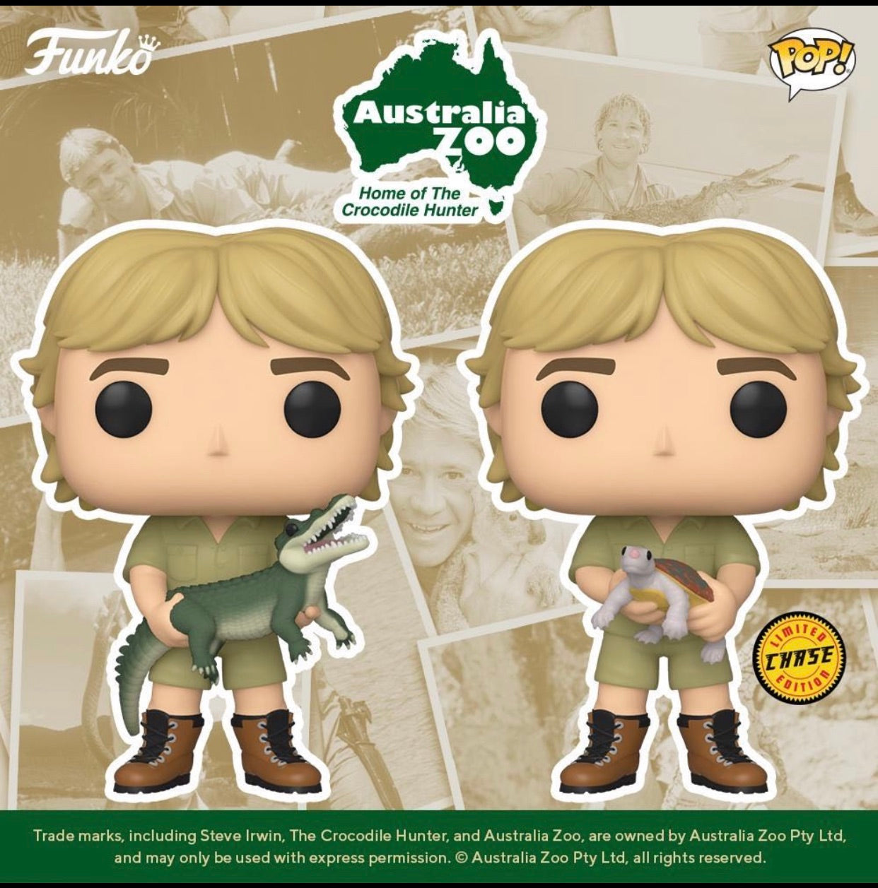 CROCODILE HUNTER FUNKO POP! STEVE IRWIN CHASE & COMMON (PRE-ORDER)