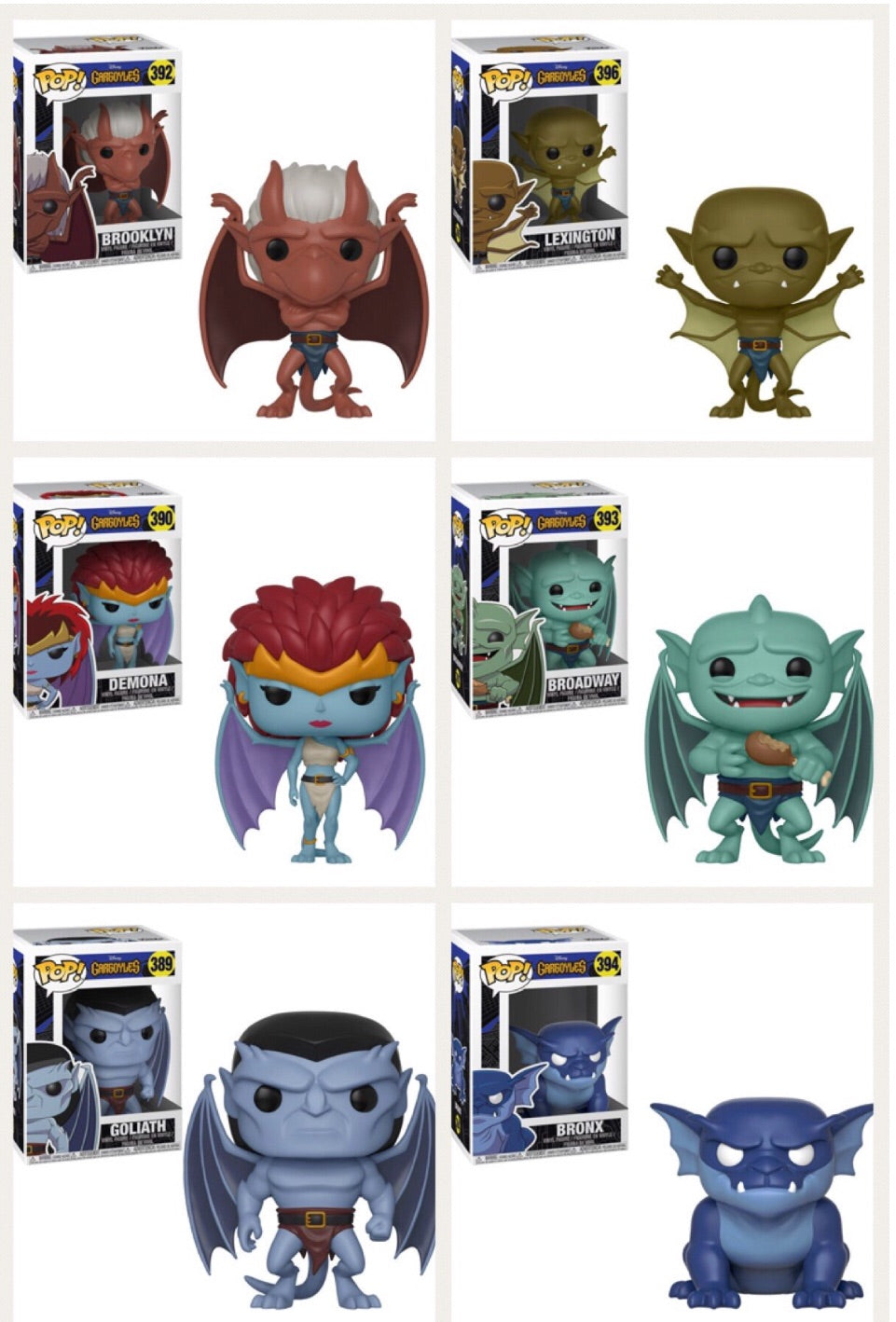 Set of 6 - Disney Gargoyles - Funko Pop Vinyl