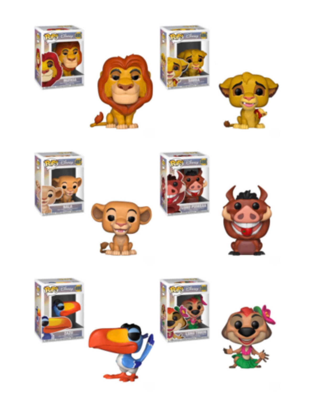 THE LION KING FUNKO POP! COMPLETE SET OF 6 (PRE-ORDER)