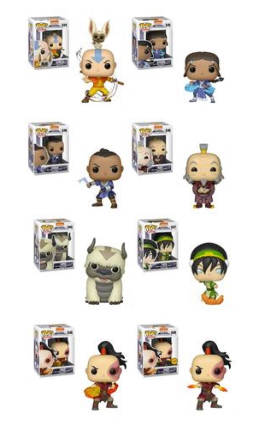 AVATAR: THE LAST AIRBENDER FUNKO POP! COMPLETE SET OF 8 CHASE INCLUDED (PRE-ORDER)